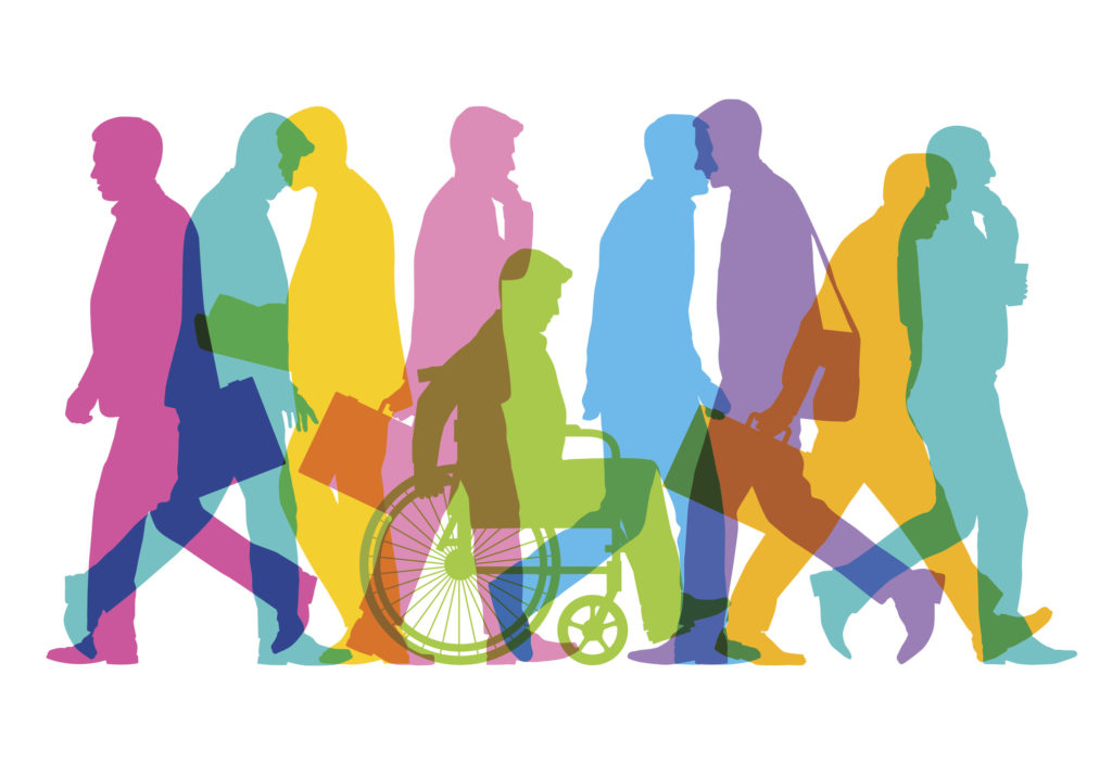 Colourful overlapping silhouettes of business people with wheelchair user.