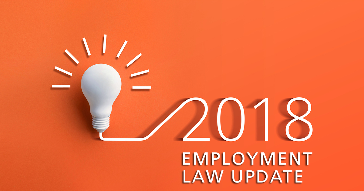 Lightbulb with 2018 employment law update on orange background