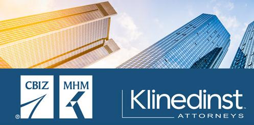 Logos for CBIZ/MHM and Klinedinst