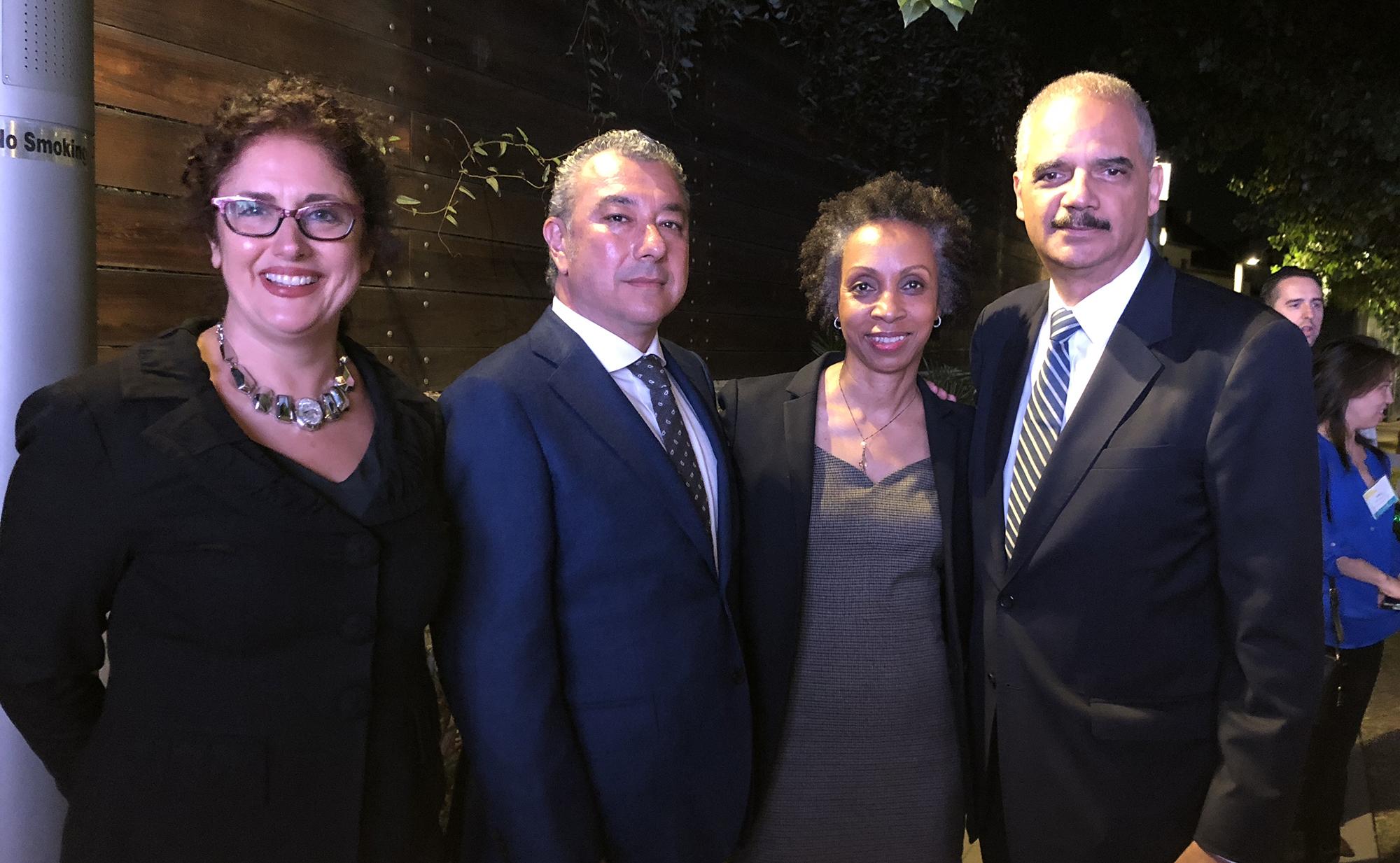 Photo of Heather L. Rosing, Leo Trujillo-Cox, Nina Shaw, and Eric Holder